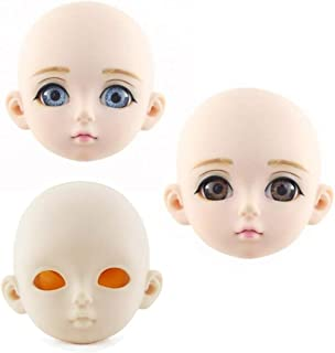 WellieSTR 3 stlye Bjd Doll Accessories Doll Head Opening Cover 3 Points Makeup for 60CM Naked Girl Doll Head 3D Eye Baby Doll Gifts for Girls
