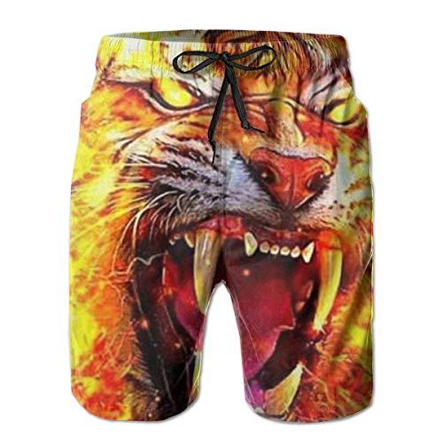 Quecci Shorts de Bain Homme,Maillot de Bain,Man Board Shorts Swimtrunks Fire Tiger Water Resistant Outdoors Beach Summer Mesh Lining