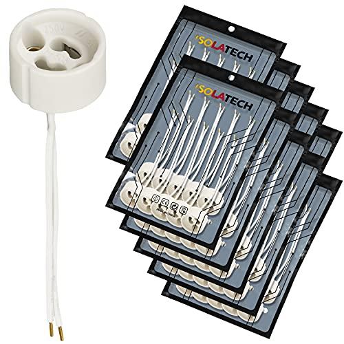 Portalámparas GU10 base para lámpara de cerámica con manguitos de cable. VDE RoHS 230-250 voltios 2A máx. 100W para lámparas halógenas y LED de ISOLATECH, aquí: 100 piezas