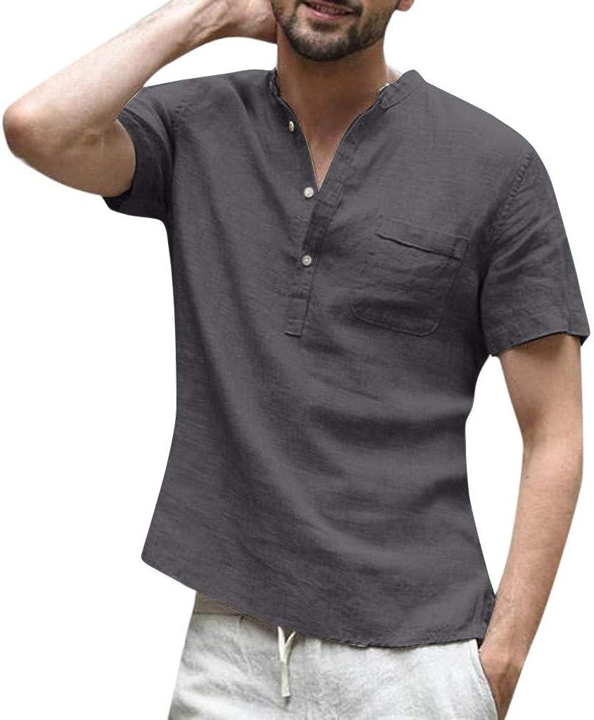 Mens Short Sleeve Free shipping New Henley Shirts Summer Cotton Popular L Yoga Linen Beach