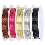 TRIXES 5 PZ Filo per Gioielli Perle - Spolette da 0,4 M - Colori Assortiti Filo in Rame Flessibile - Nero Oro Bronzo Argento Rosa - Calibro Filo 26 - Artigianato