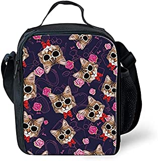 Trendy generous super cute Green Cute Animal Cat Puzzle Thermal Insulated Lunch Bag for Students,Colour:Cat Puzzle-4 (Colo...