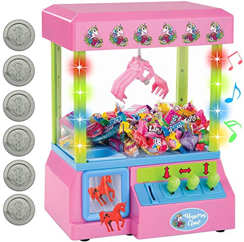 Bundaloo Unicorn Claw Machine Arcade Game with Lights and Sound, Candy Grabber & Prize Dispenser Vending Toy for Kids Includes 8 Mini Unicorn Prizes
