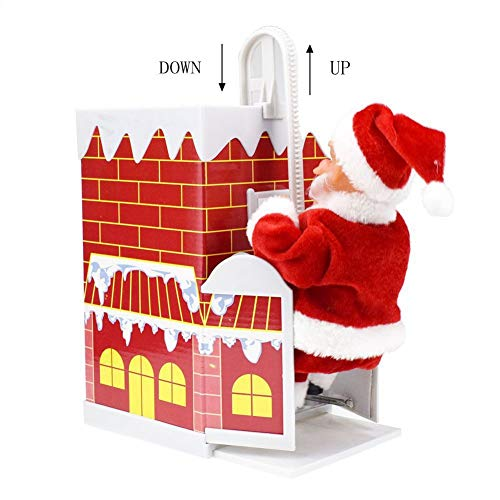 Gizayen Christmas Santa Claus Doll Climbing Chimney Plush Toy Christmas Decorations, Enjoyable Gift Toy with Music for Christmas