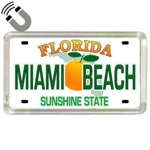 Miami Beach Florida Nummernschild Acryl kleinen Kühlschrank Collector 's Souvenir Magnet 5,1x 3,2cm
