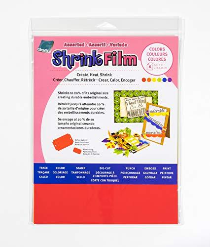 Grafix Ksf50-w 8–1/5,1 cm par 27,9 cm Shrink Film, Coloris Assortis, 6-Pack