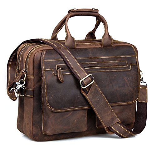 Kattee Crazy Horse Leather Briefcase Shoulder Business Laptop Bags Tote...