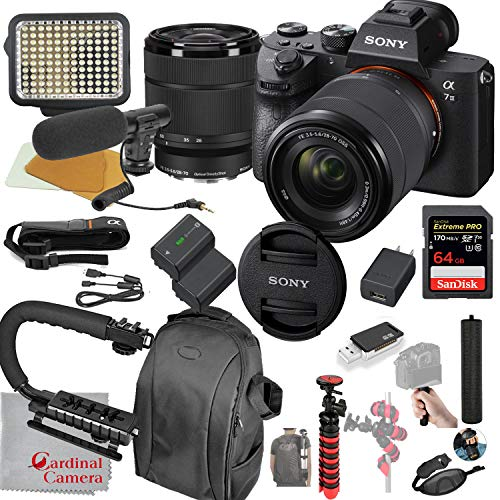 Sony Alpha a7 III Mirrorless Digital SLR Camera with 28-70mm Lens Kit Video Bundle + LED Video Light + Microphone + Extreme Speed 64GB Memory(20pc Bundle)