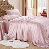Kanak Bedding- Sheet Set Hotel Quality Silky Soft Luxurious Satin 6 Pc Sheet Set Wrinkle & Fade Resistant, Silk Flat Sheet & Pillowcases Set with 21 Inch Dp Pocket (Twin XL-Rose Pink)