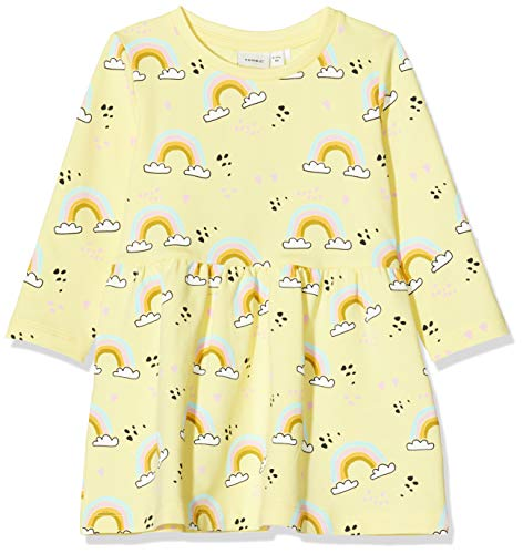 NAME IT Baby-Mädchen NMFTILLY LS SWE Dress UNB Kleid, Mehrfarbig (Lemonade), 98