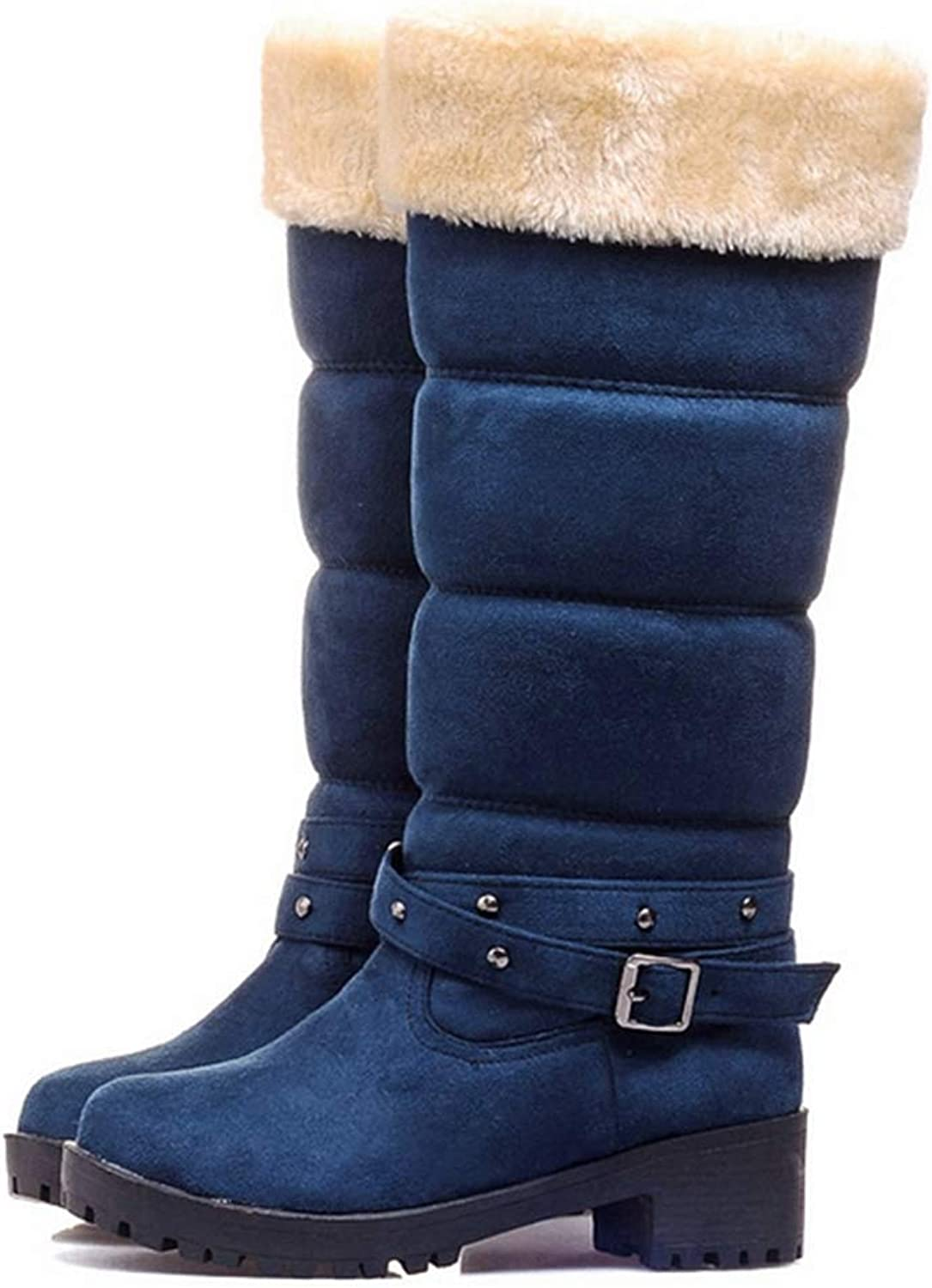 Fashion shoesbox Women's Mid-Calf Snow Boots Suede Leather Buckle Waterproof Fur Lined Low Heel Wedge Boots