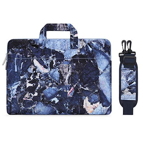 MOSISO Laptop Shoulder Bag Compatible with MacBook Pro 16 inch A2141, 15 15.4 15.6 inch Dell Lenovo HP Asus Acer Samsung Sony Chromebook, Canvas Rock Marble Carrying Briefcase Sleeve Case Cover