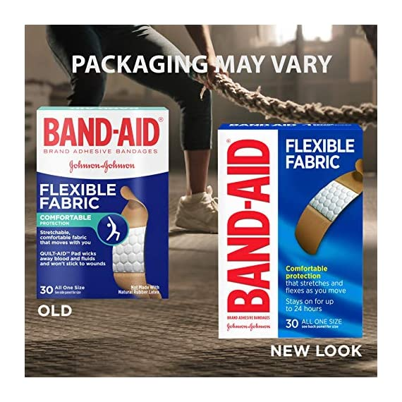 Johnson & Johnson Band-Aid Brand Flexible Fabric Adhesive Bandages for Wound Care and First Aid, All One Size, 100 Count… 2 100-count Band-Aid Brand Flexible Fabric Adhesive Bandages for first aid and wound protection of minor wounds, cuts, scrapes and burns Made with Memory-Weave fabric for comfort and flexibility, these bandages stretch, bend, and flex with your skin as you move, and include a Quilt-Aid comfort pad designed to cushion painful wounds which may help prevent reinjury These Band-Aid Brand Flexible Fabric adhesive bandages stay on for up to 24 hours and feature a unique Hurt-Free Pad that won't stick to the wound as they wick away blood and fluids, allowing for gentle removal