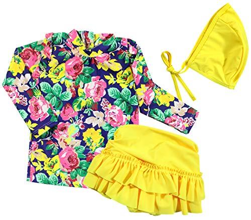 Baby Girls Three Pieces Floral Sun Protection Swimsuit Bikini Set (3-4T, Yellow)