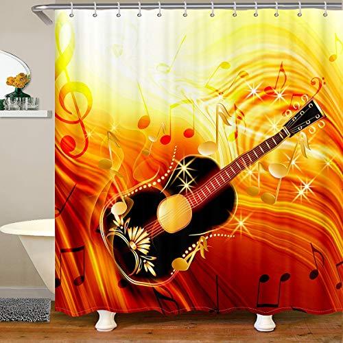 Cortina de ducha para guitarra, tela de guitarra, para niños, niñas, con temática de música de rock, impermeable, con ganchos, 180 x 210 cm