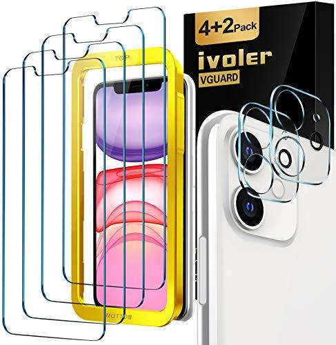 iVoler [4 Pezzi Pellicola Vetro Temperato per iPhone (6,1 Pollici) 11 / XR [2 Pezzi] Pellicola Fotocamera per 11, [9H Hardness] Anti-Scratch [con Cornice di Installazione]