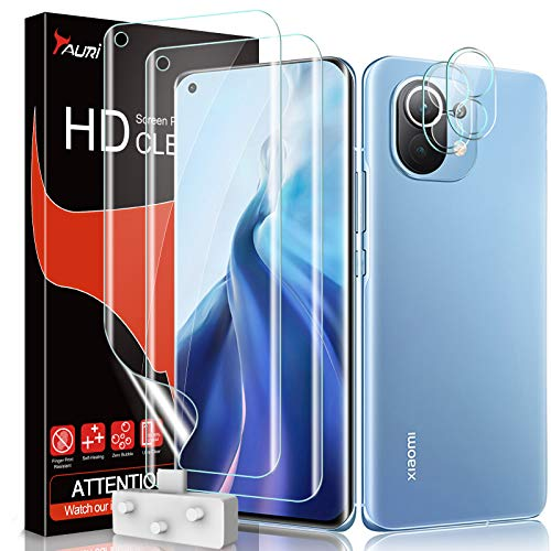 TAURI Schutzfolie Kompatibel Mit Xiaomi Mi 11 2 Stück Xiaomi Mi 11 Schutzfolie TPU & 2 Stück Xiaomi Mi 11 Kamera Panzerglas Fingerabdruck-ID unterstützen Blasenfreie Klar HD Folie