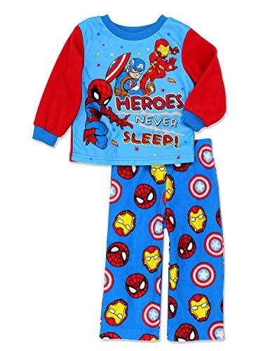 Marvel Super Hero Adventures Toddler Boys Long Sleeve Fleece Pajamas Set (2T, Blue/Red)