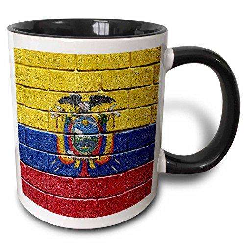 3dRose National Flag Of Ecuador Painted Onto A Brick Wall Ecuadorian Mug, 11 oz, Black