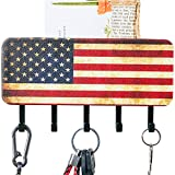 Key Holder for Wall Rustic American Flag Design Key Rack Wall Mount or Self Adhesive Optional Key Hanger with 5 Key Hooks for Wall, Hardware and Adhesive Strips Both Included