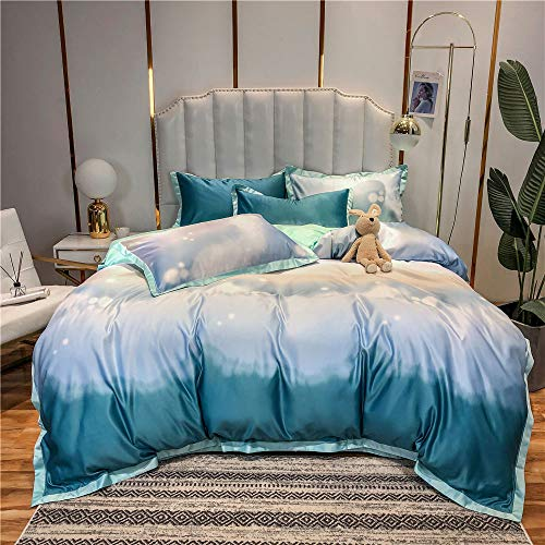 Duvet Cover Set,Washed Silk Cotton Embroidered Four-piece Set Pure Cotton Wide-brimmed Bed Sheet Pillowcase Washed Silk Quilt Cover, Double Embroidered Bedding Set