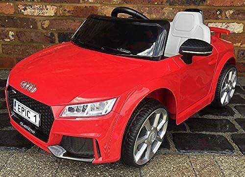 Kinder-Sport-Auto Audi TT RS. Lizenzprodukt. Mit Fernbedienung, 12 V Elektrisches batteriebetriebenes Aufsitzauto. Rot.