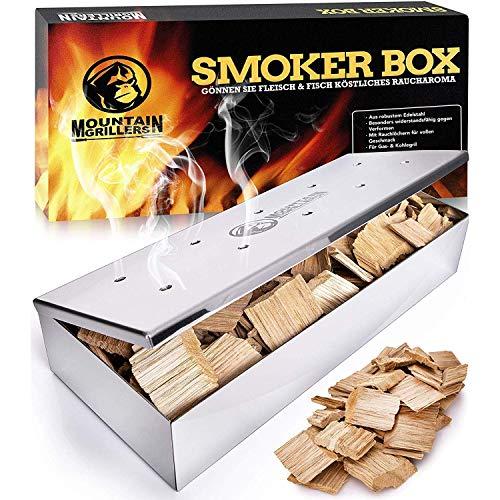 Mountain Grillers Räucherbox aus Edelstahl für BBQ - Smokerbox für EIN tolles Aroma beim Grillen - Für Kugel-, Kohle- und Gasgrill - Robustes Grillzubehör für Räucherchips mit praktischem Klappdeckel