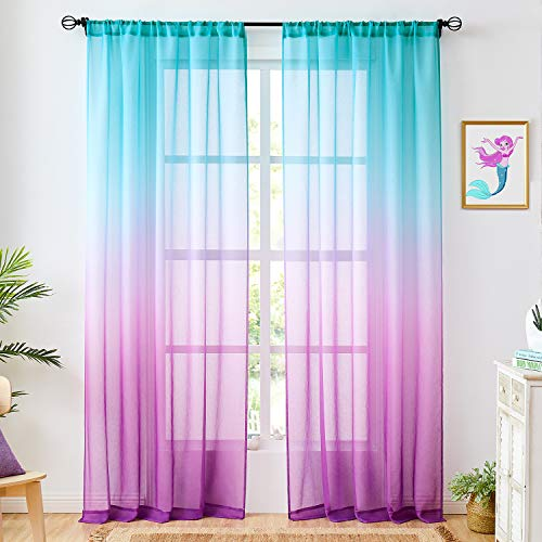 Faux Linen Ombre Sheer Curtains Blue and Purple 2 Tone Reversible Rod Pocket for Girls Bedroom, Privacy and Light Filtering Semi Gradient Window Curtain Pair, Set of 2 Panels, 54 x 84 inch