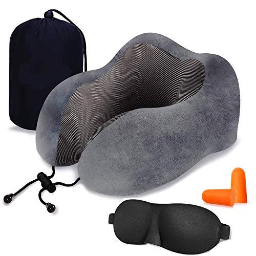 LOVEUR ネックピロー 低反発 U型まくら『3Dアイマスク付き』飛行機 トラベルピロー 携帯枕 首枕 旅行ピロー...