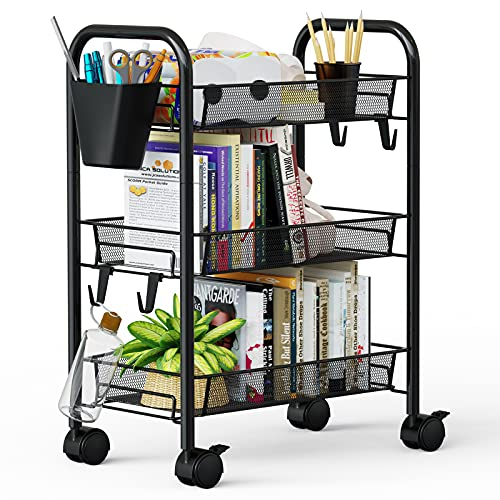 Greensen 3 Tier All-Metal Rolling Cart, Laundry Office Bathroom Storage Organizer Cart with Wheels, Easy-Carry and Assembly Mesh Trolley Cart with...