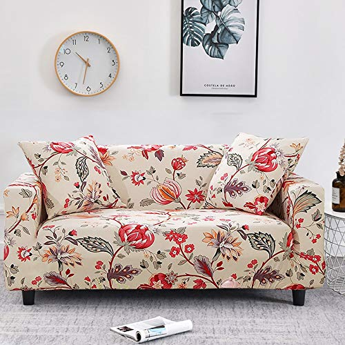 Funda de sofá con diseño de Flor de melocotón Fundas de sofá elásticas elásticas para Muebles de Sala de Estar Funda de sofá A17 2 plazas