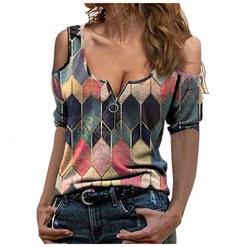 Janly Clearance Sale Blusa para mujer, diseño de cuadros casual, manga corta, cuello en V, cremallera al hombro, para Pascua del Día de San Patricio (naranja-3XL)