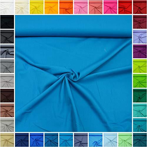 MAGAM-Stoffe Sophie Baumwollstoff Uni 100% Baumwolle Oeko-Tex Meterware 50cm (24. Hawaii-Blau)