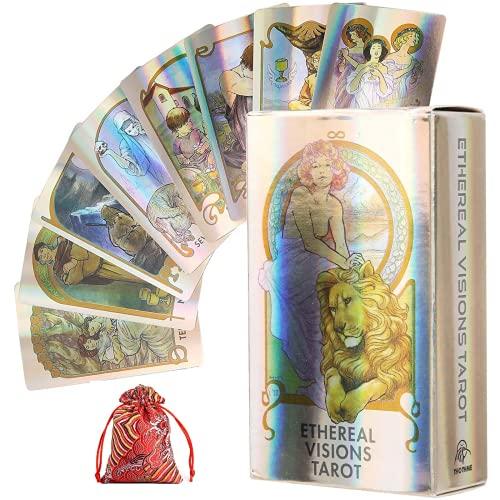 YOYOTECH The Oraclee of Ethereal Visions Tarot Holográfico Tarot Deck Juego de Cartas para Adultos y niños Divinación Divinación Jugar Tarjetas de Juego