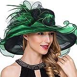 Women Kentucky Derby Church Dress Fascinator Wide Brim Tea Party Wedding Hats S042b (Green)