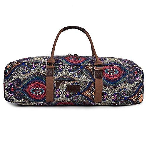 Fremous - Borsa tappetino per yoga tutto-in-uno, borsone in tela fantasia con tasca e cerniera, Lotus