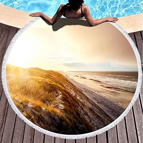 YURONG Toallas de Playa de Gran tamaño, Toalla de Playa sin Arena Toalla de Playa Grande The Dunes Beach Sunrise Hvide Sande Toalla de Playa Redonda de Microfibra de 60 x 60 Pulgadas