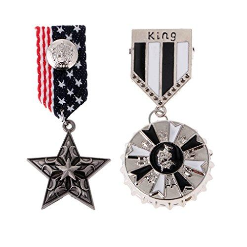 Colcolo 2 Piezas Vintage Tela Medalla Insignia Uniforme Ropa Moda Traje Broche Pin