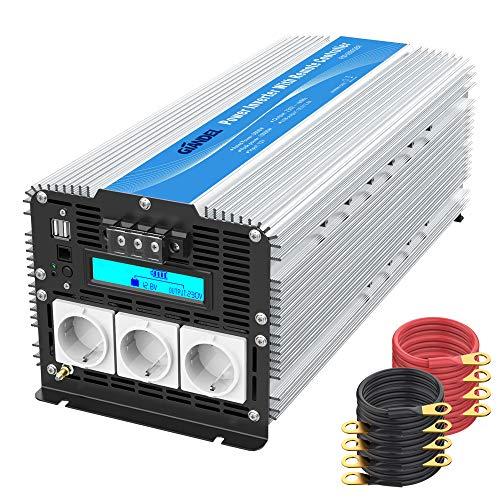 5000W Power Inverter Modifizierter Sinus Wechselrichter DC 12V auf AC 230V Spannungswandler Schwerlast mit LCD Bildschirm 3 AC Steckdosen Doppelte USB-Anschlüsse & Fernbedienung für Wohnmobile GIANDEL