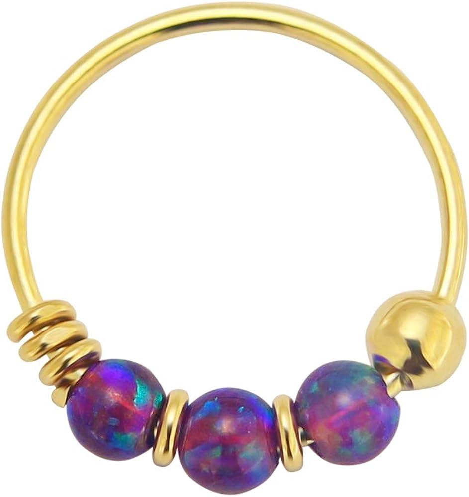 14K Yellow Gold Triple Opal Bead 22 Gauge Hoop Nose Piercing Ring Jewelry