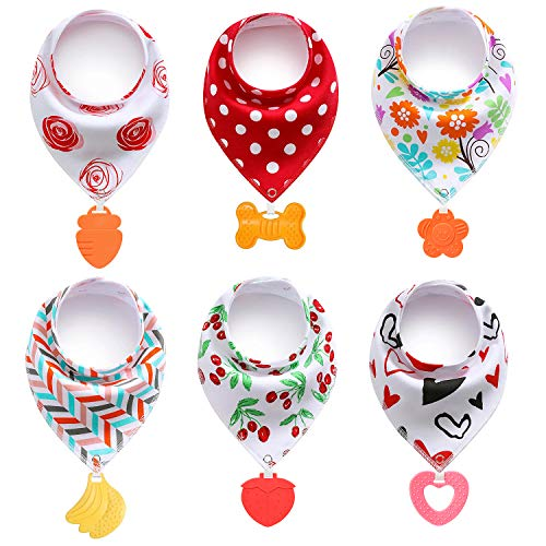 PandaEar Baby Bandana Drool Bibs 6Pack with Teething Toys Super Absorbent 100% Organic Cotton Neutral Color for Girls Assorted Girl