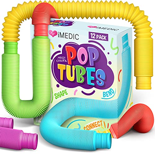 iMedic 12pcs Pop Tubes - Sensory Fidget Toys For Children or Adults, Autism and Special Needs. Reduce Anxiety and Stress - ADHD OCD