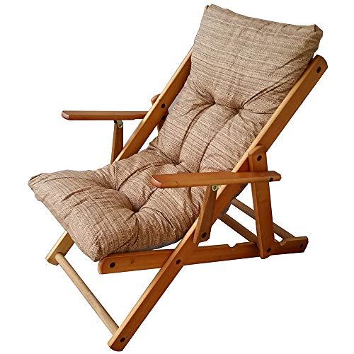 Fauteuil Chaise Longue Relax inclinable 3 Positions en Bois Pliant (Sable)