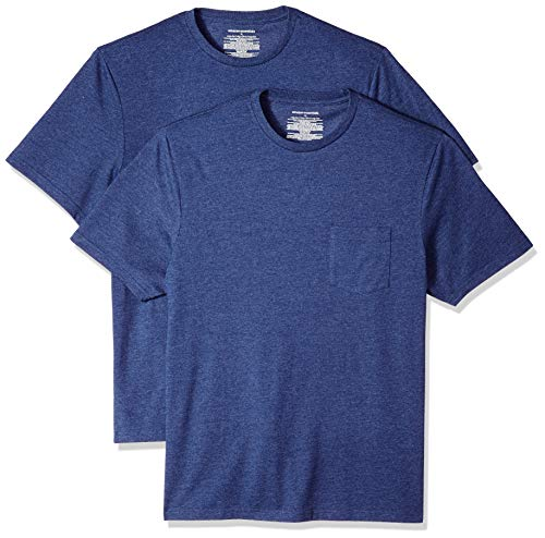 Amazon Essentials - Pack de 2 camisetas de manga corta y corte holgado con cuello redondo y bolsillo para hombre, Azul (Navy Heather Nav), US XS (EU XS)