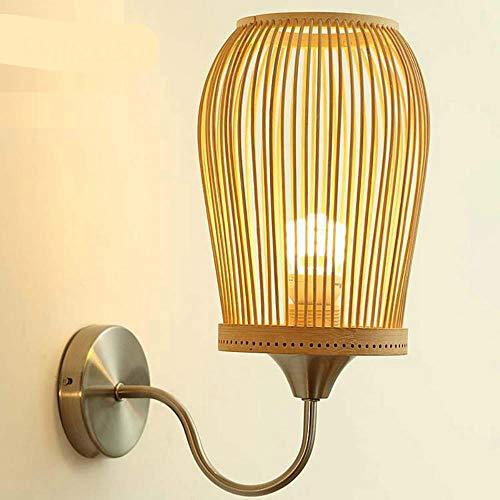 Bamboe wandlamp van metaal, Chinese stijl, lantaarn, deur, vuur, veranda, loft, hotel, nachtkastje, slaapkamer, origineel, van hout
