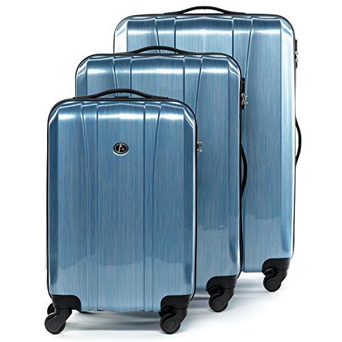 FERGÉ set di 3 valigie viaggio DIGIONE - bagaglio rigido dure leggera 3 pezzi valigetta 4 ruote blu