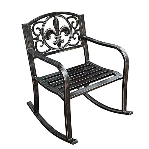 Post Rocking Chair - Metal Rocking Chair Seat for Patio, Porch, Deck, Scroll Design,Black