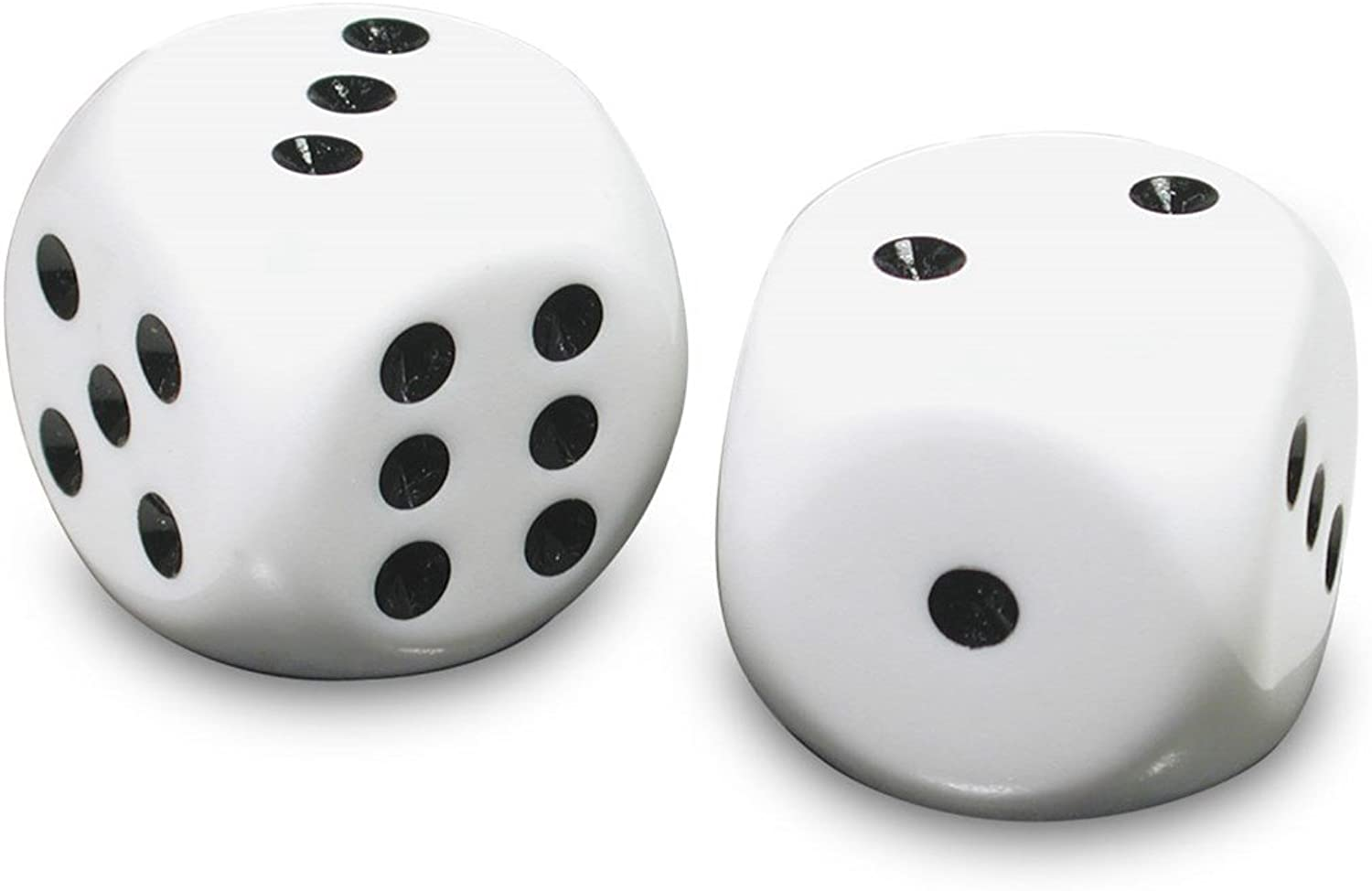 Low Vision Large Dice - White with black dots