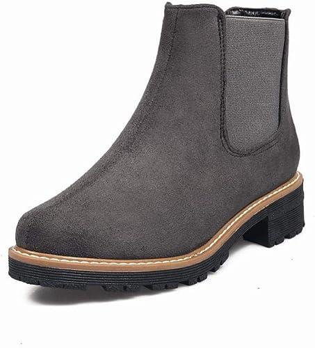 ZHRUI Stiefel para damen - Botines de otoño e Invierno Stiefel Martin Botines de Tela elástica con tacón bajo schwarz grau   33-43 (Farbe   grau, tamaño   EU 40)