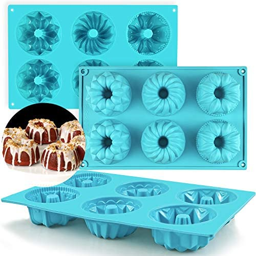 Mity rain Mini Bundt Cake Silicone Pan Fluted Tube Cake Pans European Grade Non Stick Fancy product image